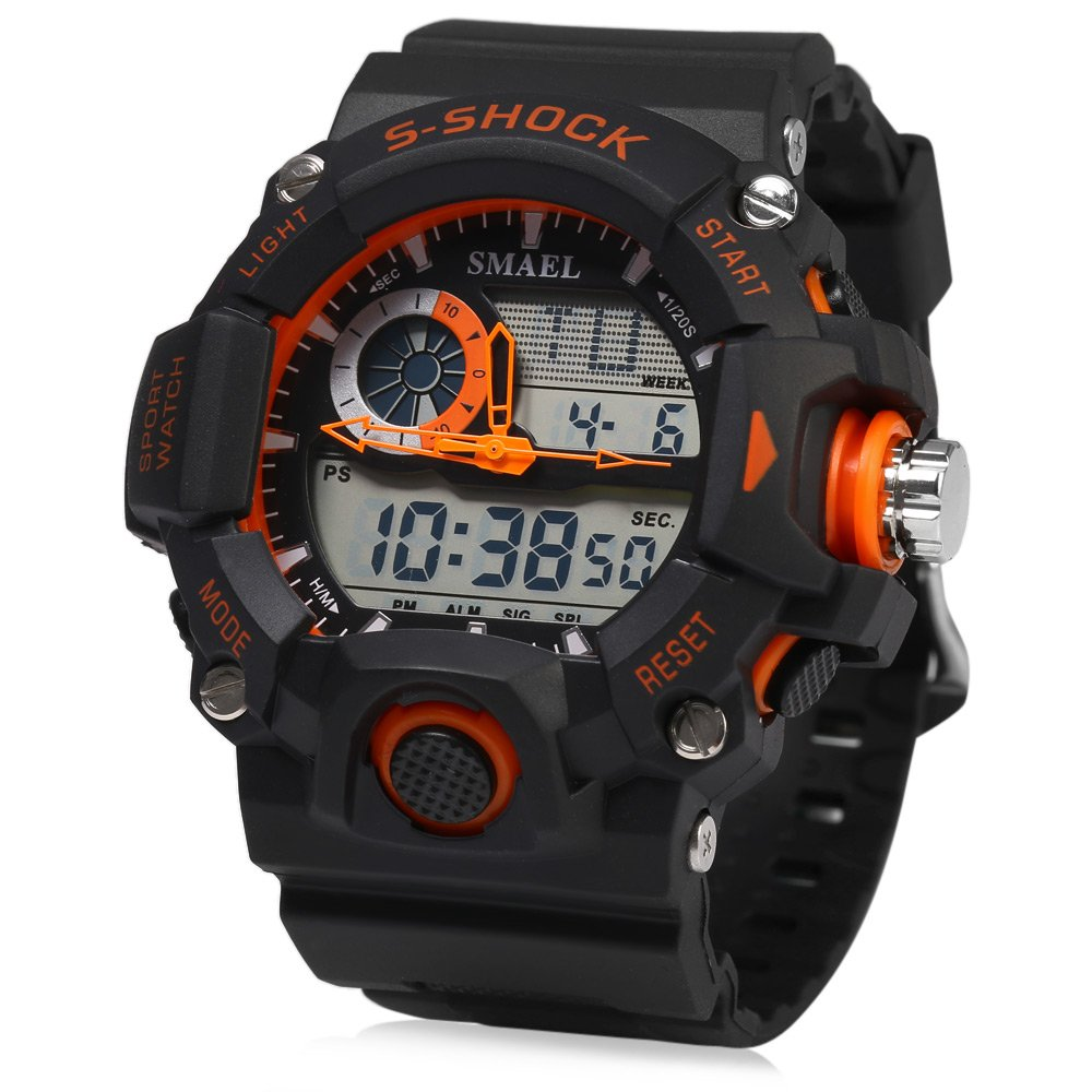 ELEOPTION Male Watches Waterproof With LED Digital Sports Digital Watch Dual Movt Calendar Chronograph And Rubber Band for Boy Young Adult gifts by Eleoption