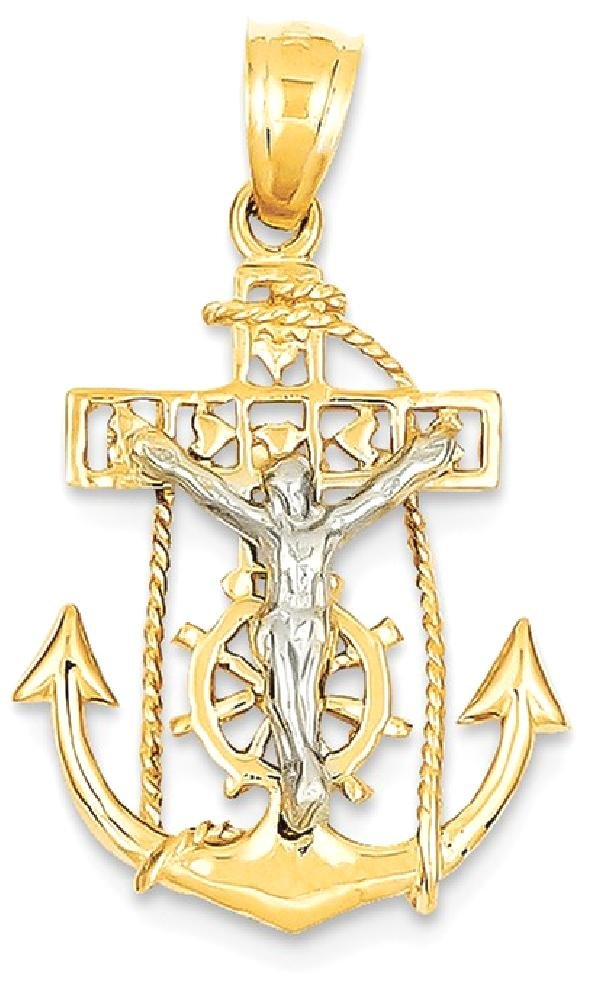 ICE CARATS 14k Two Tone Yellow Gold Nautical Anchor Ship Wheel Mariners Cross Religious Pendant Charm Necklace Mariner Fine Jewelry Gift Set For Women Heart