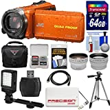 JVC Everio GZ-R440 Quad Proof Full HD Digital Video Camera Camcorder (Orange) + 64GB Card + Case + Power Bank + Tripod + LED Light + Tele/Wide Lens Kit