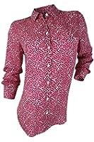 Foxcroft Women's Pink White Hearts Print Shirt Blouse