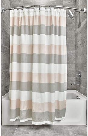 iDesign Ducha a Rayas, Preciosa Cortina de baño x 183,0 cm de algodón y poliéster, Rosa Palo/Gris: Amazon.es: Hogar