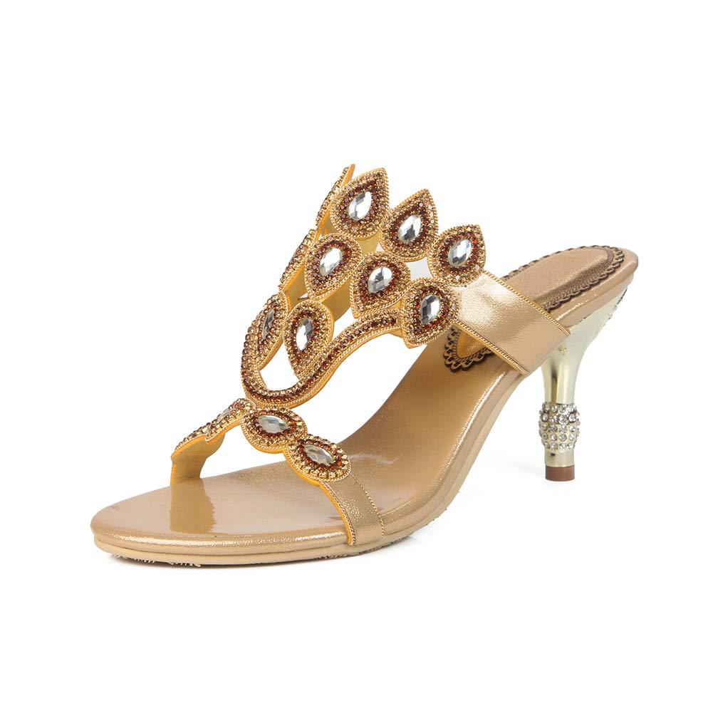 gold Women's Rhinestone Slim high Heel Sandals Metal Rhinestone Heel High Heel Slippers Luxurious Dress Slippers