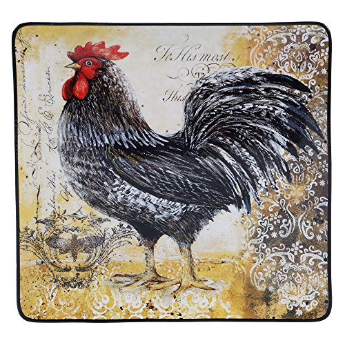 Rooster Square Platter - Certified International 57484 Vintage Rooster Square Platter, 14.5