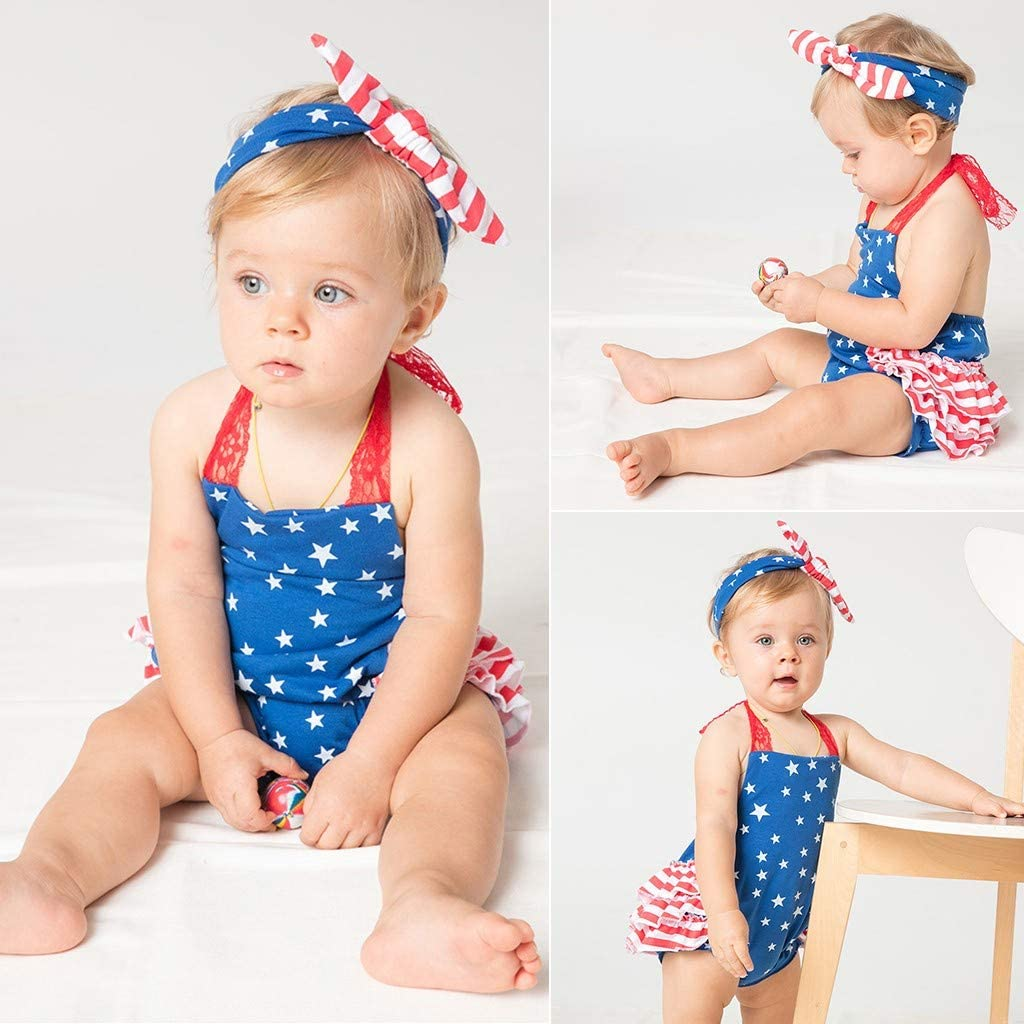 Baby Girls One-Piece Rompers American Flag Tassel Summer Jumpsuit with Headband Fyhuzp 4th of July Toddler Romper