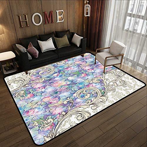 (Carpet Flooring,Ornaments,Hydrangeas Romantic Flowers with Cream Color Baroque for Her Special Collection Art Nouveau Design Decor Lilac 71