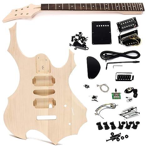 DIY - Juego de guitarra eléctrica de madera de borla sin terminar con cuerda para el