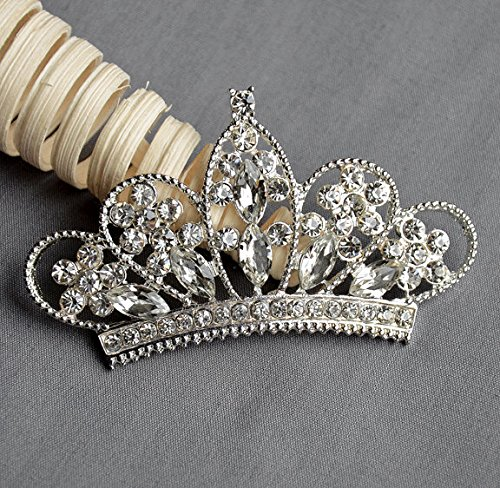Free Brooch Pin Ship (10 Rhinestone Button Embellishment Crystal TIARA CROWN Bridal Wedding Brooch Bouquet Invitation Cake Hair Comb Pin BT550)