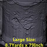 CAMTOP Halloween Creepy Cloth, Haunted Houses Decorations Cloth for Spooky Party, 8.7 Yards x 79 Inch, Black