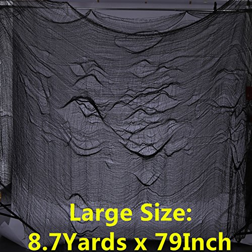 CAMTOP Halloween Creepy Cloth, Haunted Houses Decorations Cloth for Spooky Party, 8.7 Yards x 79 Inch, Black (Creepy Cloth Halloween Haunted House)