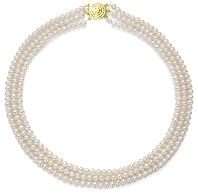 ec1a33a6e1f31 Amazon.com: 14K Yellow Gold 3 Strand White Freshwater Cultured Pearl ...