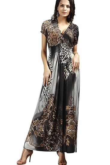 Reachme Womens Bohemian Plus Size Leopard Print Maxi Dress V Neck