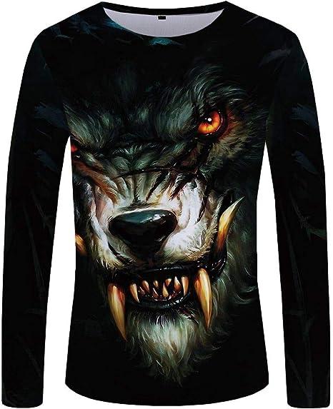 QIANZHIHE Camiseta Camiseta de los Hombres Camisa de Manga Larga Negro de Gran tamaño Animal Print Hombres Ropa, XXXL: Amazon.es: Deportes y aire libre
