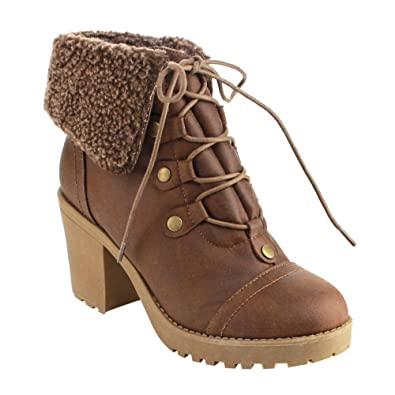 AD51 Women's Lace Up Collar Chunky Heel Ankle Combat Booties