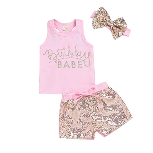 bdafbd9d40fd Amazon.com  WARMSHOP 3 Pc Girls Summer Clothing Set Sleeveless Birthday  Babe Letter Print Vest Tops+Sequin Shorts+Handband Outfits  Clothing