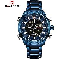 KKmoon NAVIFORCE Luxury Dual Display Digital Quartz Men Watch Stainless Steel Luminous Sports Watch Chronograph Water-Proof Man Clock + Gift Box