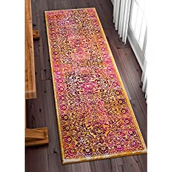 "Alhambra Modern Vintage Bright Floral Traditional Medallion Fuscia Purple Yellow Gold 2x7 (2'3"" x 7'3"" Runner) Area Rug"