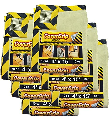 CoverGrip Heavy Duty Safe Path 10 Oz Canvas Safety Drop Cloth, 4' x 15', (Pack Of 6)