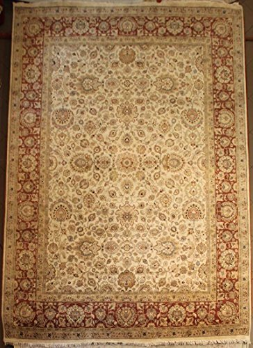 9' x 12' Jaipur Hand Knotted Wool and Silk India Rug 906 ivory/rust ()