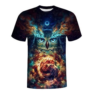 328e278c1 Crewneck Tee, Kimloog Mens 3D Galaxy & Owl Print Short Sleeve T Shirt(Black