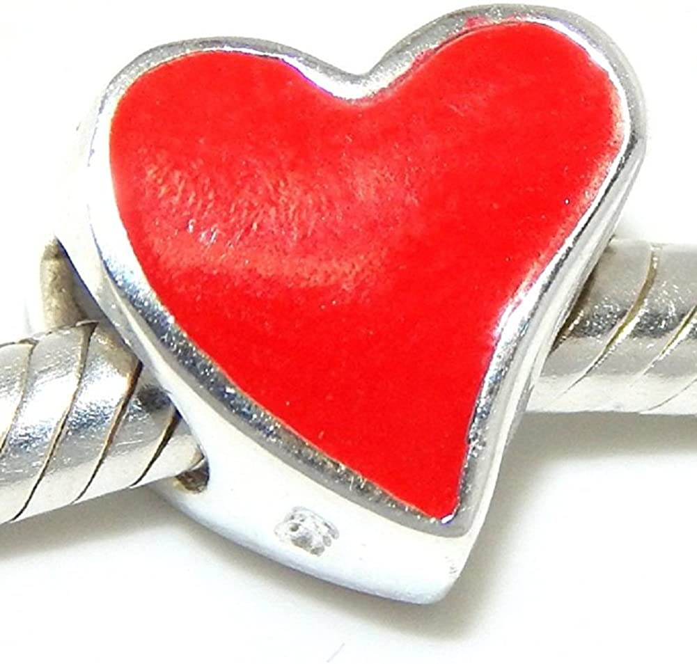 Solid 925 Sterling Silver Slanted Red Heart Charm Bead