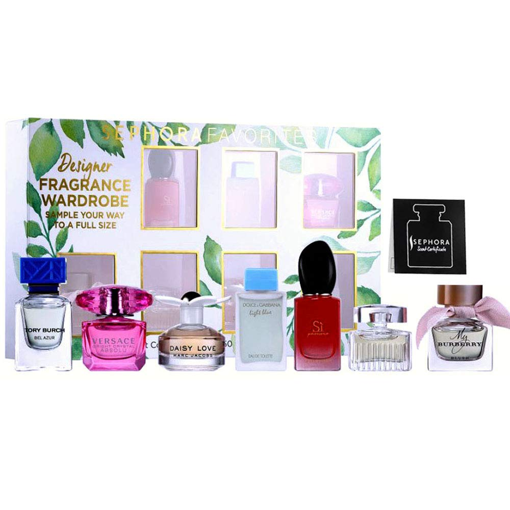 Sephora Favorite Designer Fragrance Wardrobe Mini Deluxe Perfume Sampler w/a Full Size Certificate Perfume, 7-PC Set