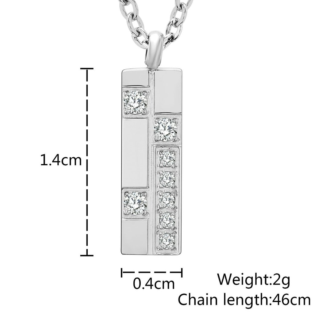 Bishilin Stainless Steel Necklace for Women Rectangle CZ Silver 0.4x1.4CM
