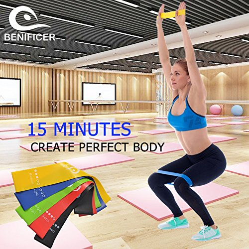 Benificer Core Sliders and Resistance Bands, Set of 5 Exercise Loop Bands with Set of 2 Double-sided Gliding Discs Workout for Fitness Home GYM Yoga,Pilates,Crossfit with Carry Bag and Instruction by Benificer (Image #3)