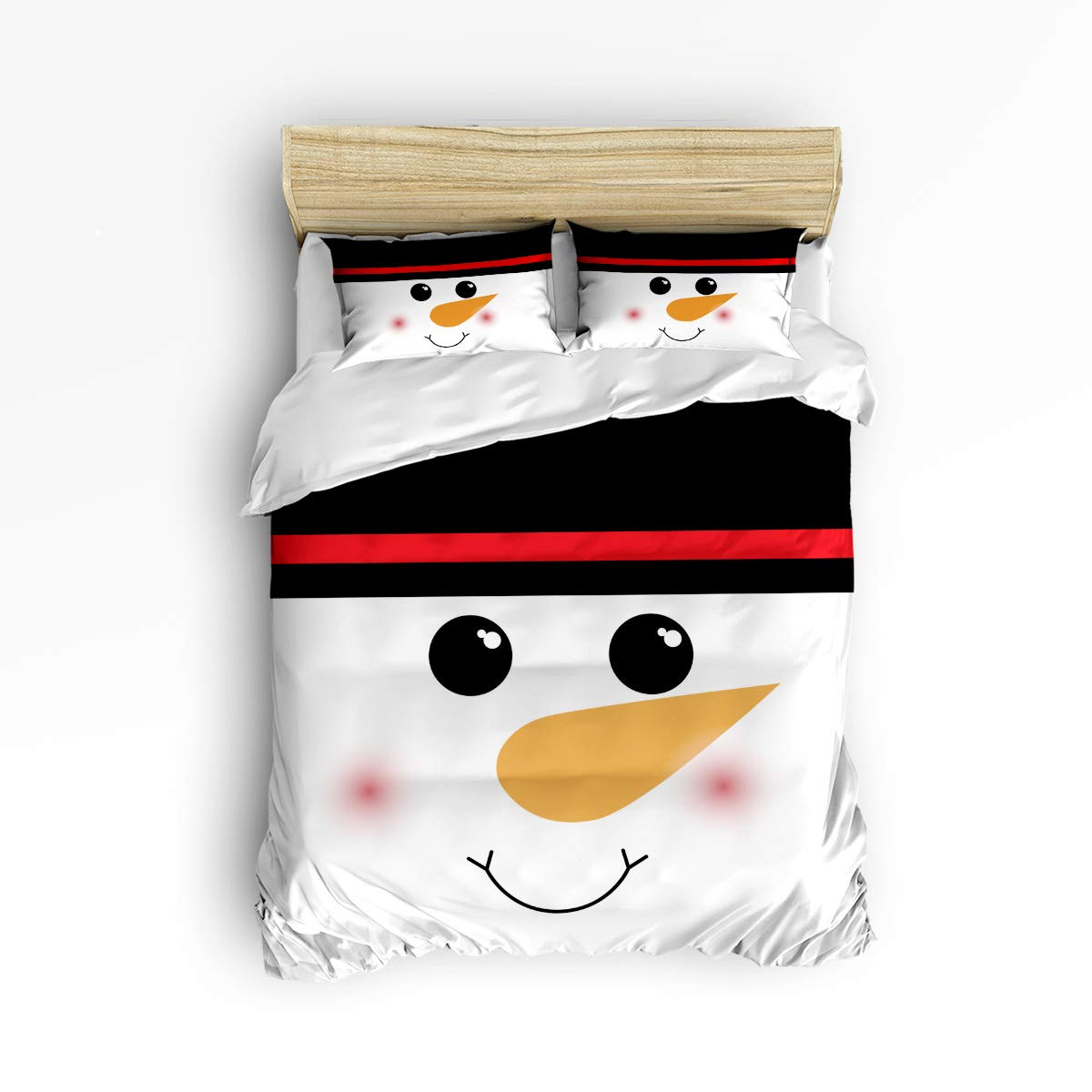 3 Piece Bedding Set - 1 Soft Down Comforter Quilt Bedding Cover Matching 2 Pillow Shams with Zipper Closure, Christmas Shy Snowman Smile Life Black and White Bedding Duvet Cover Set Full Size