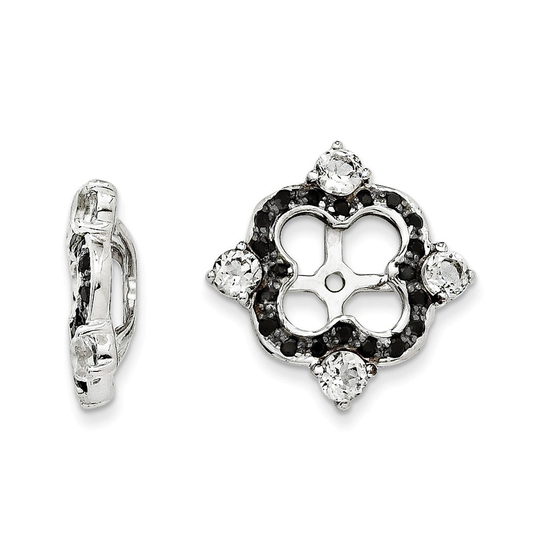 ICE CARATS 925 Sterling Silver White Topaz Black Sapphire Earrings Jacket Birthstone April Fine Jewelry Gift Set For Women Heart