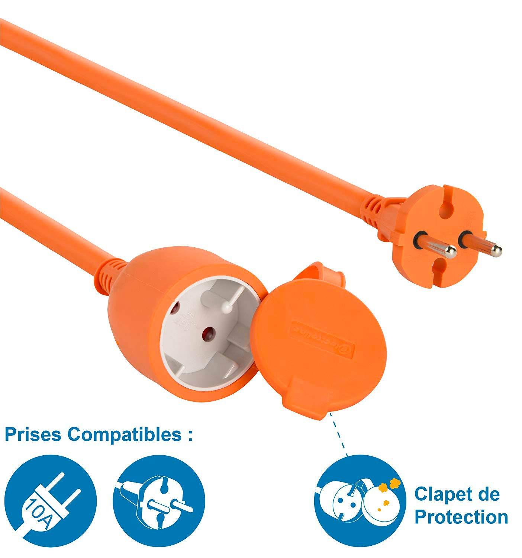 color naranja Cable alargador el/éctrico para jard/ín 20 m Electraline 20857036F