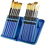 Compra Paint Brushes - 15 Pc Brush Set for Watercolor, Acrylic, Oil & Face Painting | Long Handle Artist Paintbrushes with Travel Holder (Cool Blue) & Free Gift Box | Premium Art Supplies by MyArtscape™ | 1 Year Warranty en Usame