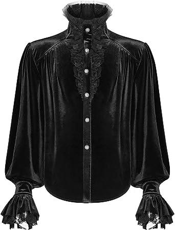Punk Rave Gótico para Hombre Poeta Camisa Top Terciopelo Negro Encaje Steampunk Victoriano Vampiro Regency: Amazon.es: Ropa y accesorios