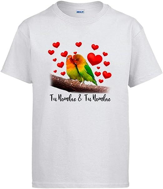 Diver Bebé Camiseta te Quiero Pareja periquitos Personalizable con Nombre: Amazon.es: Ropa y accesorios