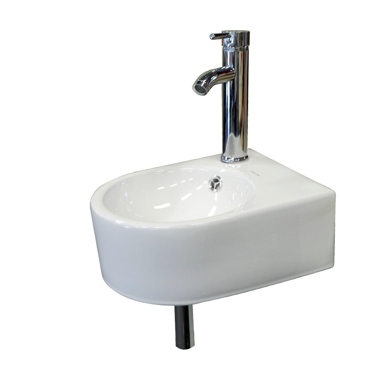 Wonline Wall Mount White Circle Overflow Bathroom Tempered Ceramic