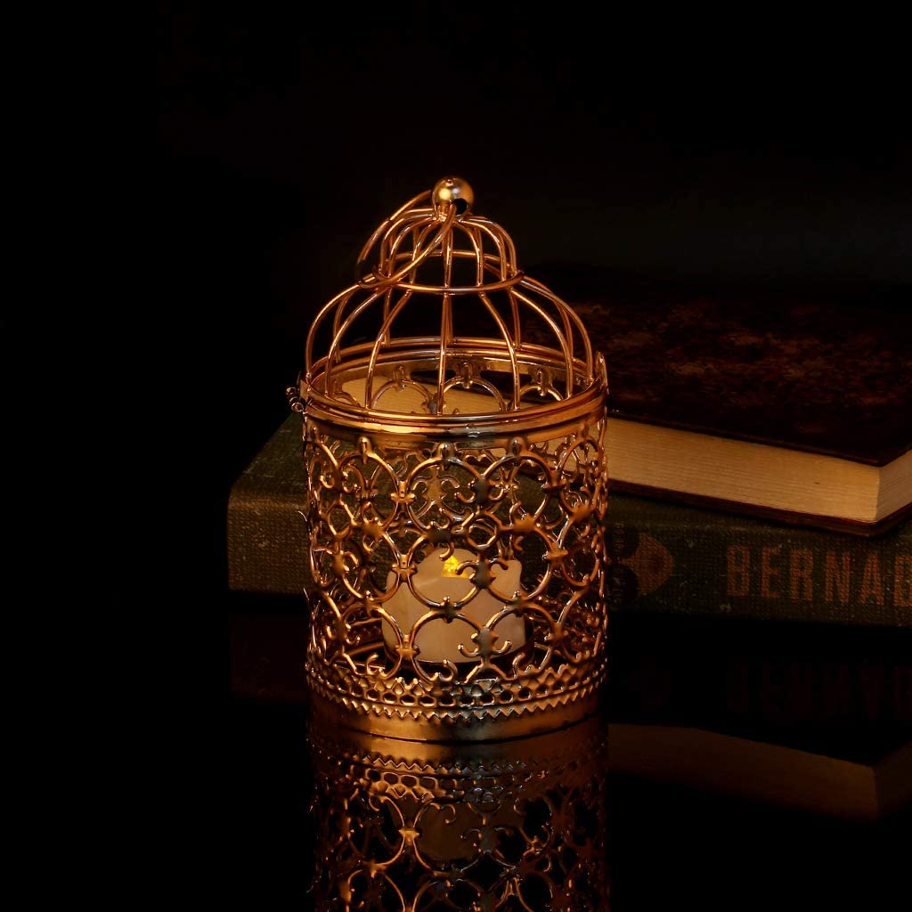 A Silver Suweqi Creux Support pour Bougie Chauffe-Plat Bougeoir Lanterne /à Suspendre Vintage Cage /à Oiseaux 3/Couleurs 15cmx8cm//5.91inx3.15in