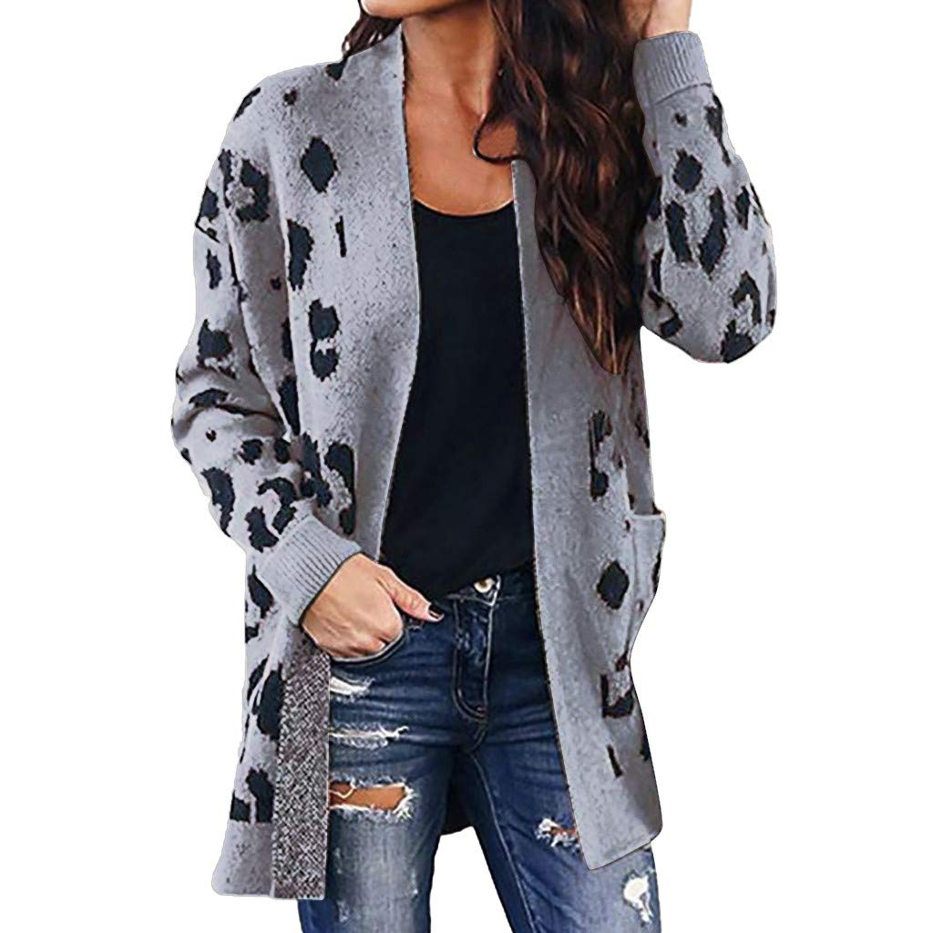 Alangbudu Women Leopard Knit Overcoat Cardigan Jacket Long Sleeve Windbreaker Thin Sweater Tops Outwear with Pocket Dark Gray by Alangbudu-Women's Long sleeve blouses & sweatshirts & hoodies