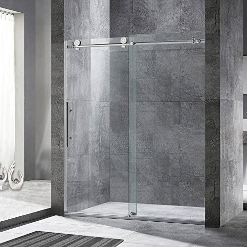 WOODBRIDGE Frameless Sliding Shower Door, 44 – 48 Width, 76 Height, 3 8 10 mm Clear Tempered Glass, Brushed Stainless Steel Finish, Designed For Smooth Door Closing. MBSDC4876-B