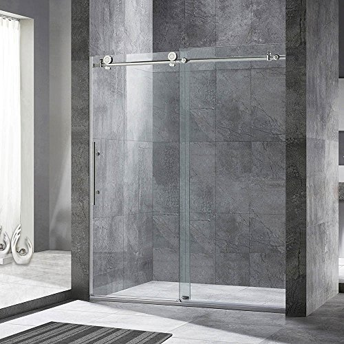 Woodbridge Frameless Sliding Shower Door, 56''-60'' Width, 76'' Height, 3/8'' (10 mm) Clear Tempered Glass, Chrome Finish, Designed for Smooth Door Closing and Opening. MBSDC6076-C-2 by WoodbridgeBath