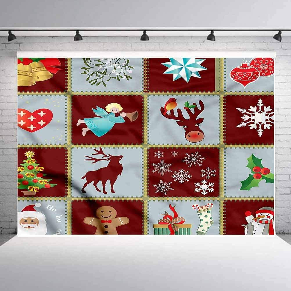 5x5FT Vinyl Photography Backdrop,Angel,Xmas Tree Reindeers Photo Background for Photo Booth Studio Props