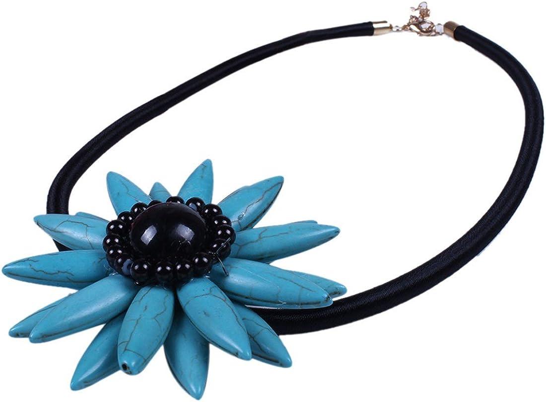 QIYUN.Z Hecho A Mano De Color Turquesa Cordon Cuerda Negro Azul Perla Piedra Colgante De Collar De Flores