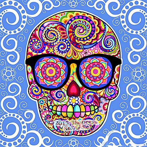 (5D Artist Painting Kit - DIY Cross Stitch Kit Great Designs, Diamond Embroidery Kit for Art & Craft, Living Room Wall Decor, Sugar Flower Skull,11.8 x 11.8 inch(Frameless))