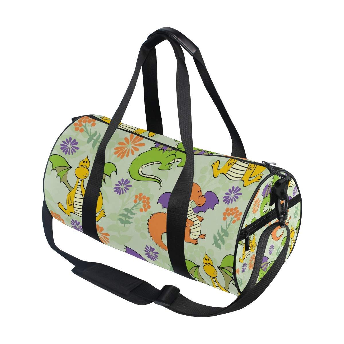 WIHVE Gym Duffel Bag Cartoon Dinosaur Floral Sports Lightweight Canvas Travel Luggage Bag