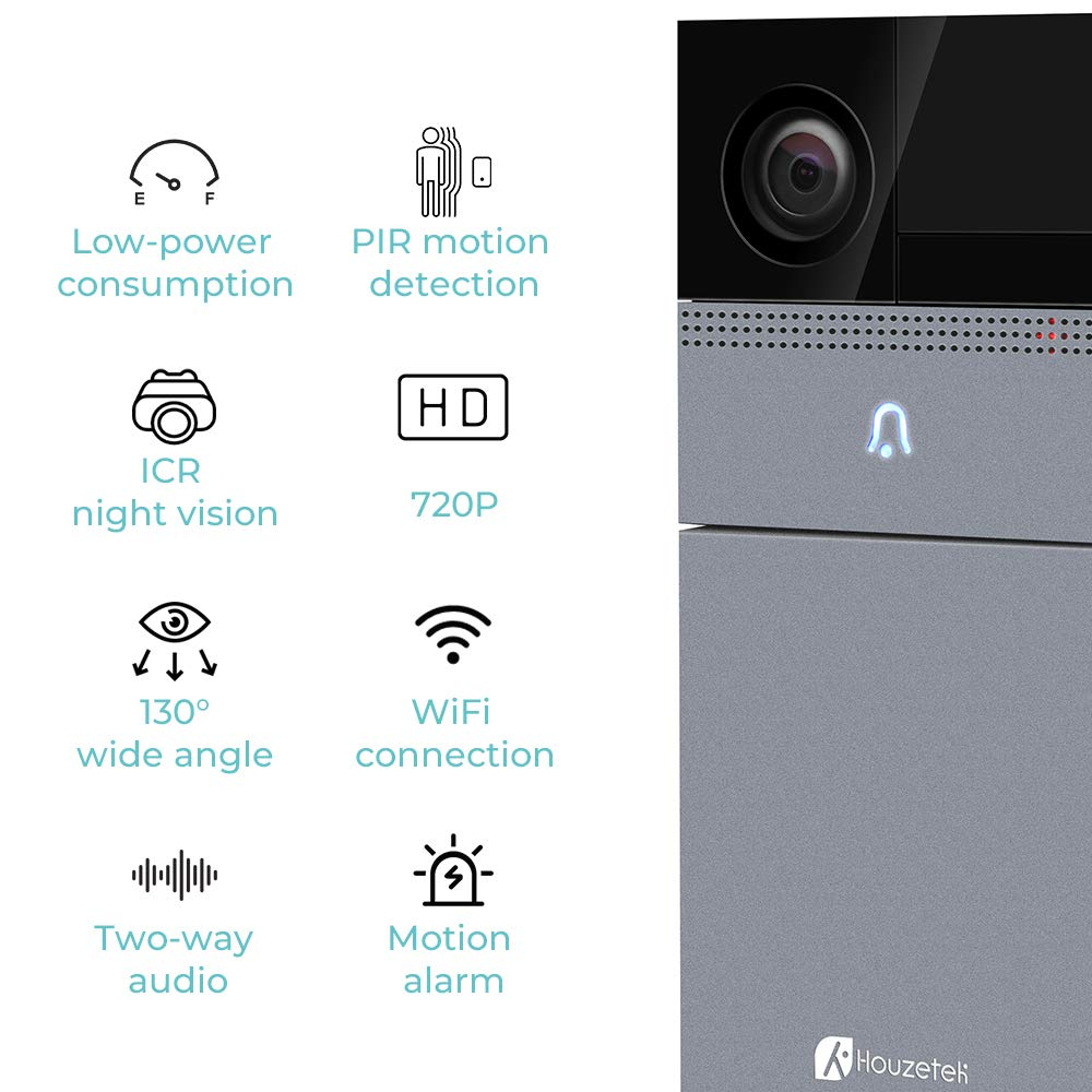 WiFi Smart Video Doorbell Camera, Houzetek Wireless Door Bell 720P HD Home Security Doorbell Camera with Rechargeable Battery PIR Motion Detection Night Vision Real-Time Two-Way Audio