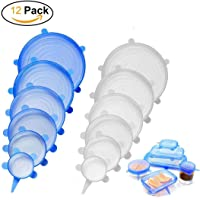 12 PCS Kitchen Silicone Stretch Lids Reusable, Durable Food Saver Covers to Keep Food Fresh - Stretchable Silicon Food Saver Various Sizes Can, Pots, Cups, Mixing Bowls Covers, Dishwasher Safe