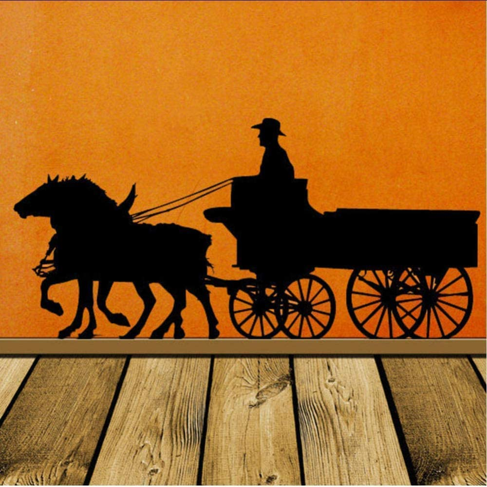 Diuangfoong Pioneer Horse Decor, Wagon, Old West, Western, Wall Decal, Stage Coach, Cowboy Wall Vinyl Sticker Home, Office Decor