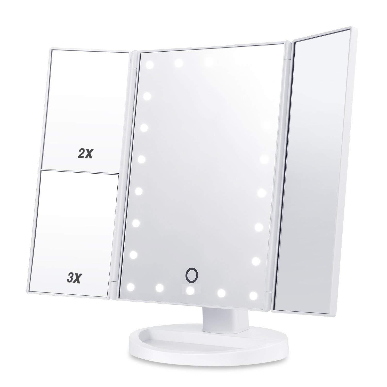 Xinfang Trucco Specchio cosmetico con 21luci LED,3x/2x ingrandimento Specchio da Trucco con Touch Screen, Dual Power Supply, 180° di Rotazione Regolabile, lavabo da appoggio per Cosmetici 180° di Rotazione Regolabile