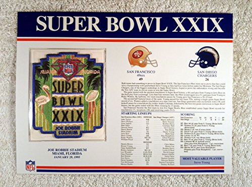 (Super Bowl XXIX (1995) - Official NFL Super Bowl Patch with complete Statistics Card - San Francisco 49ers vs San Diego Chargers - Steve Young MVP)