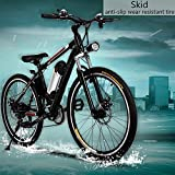 Mens Updated Electric Mountain Bike with 36V Lithium-lon Battery, 250W Power Plus Shimano 26 Speeds Suspension Fork Mountain E-Bike (US STOCK)