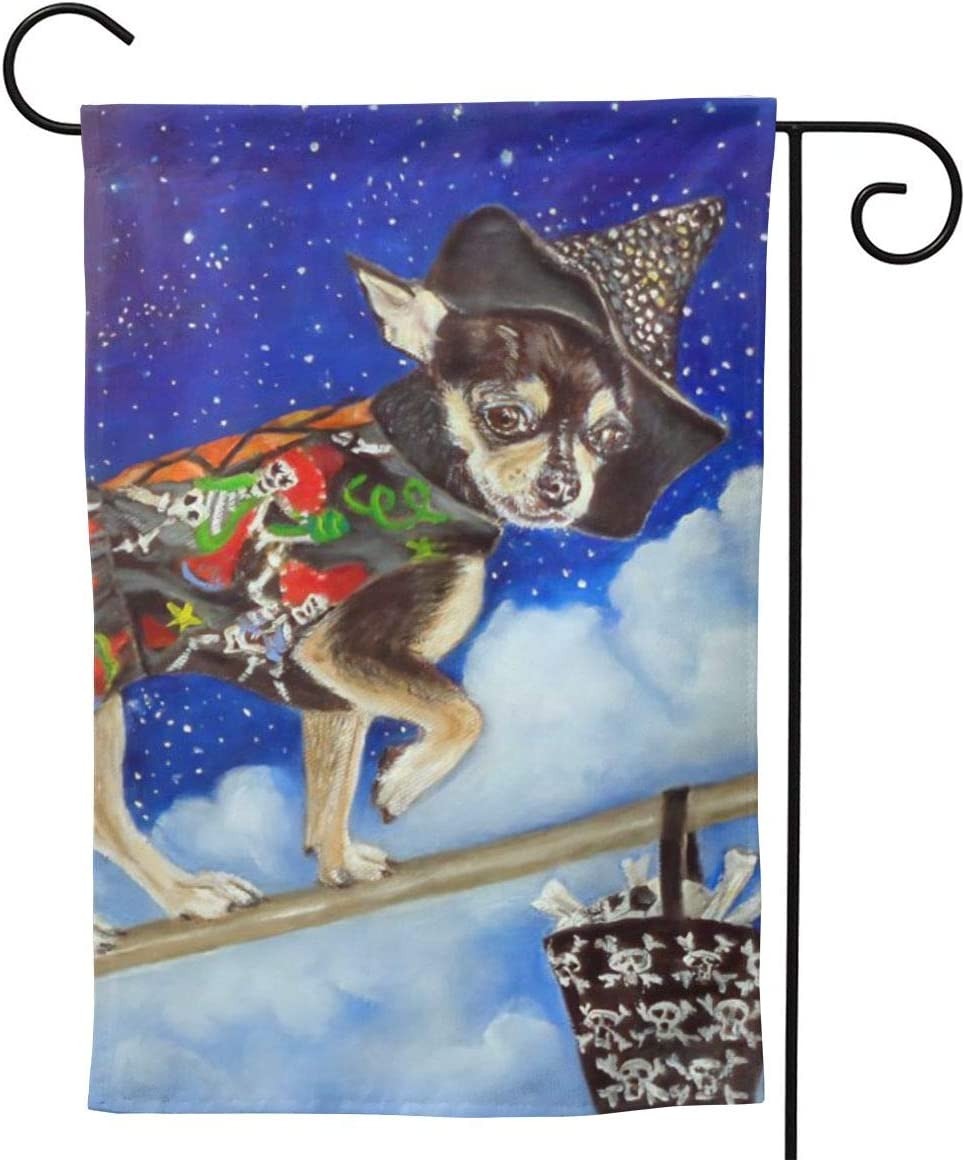 MINIOZE Chihuahua Cute Dog Halloween Big Large Jumbo Party Themed Flag Welcome Outdoor Outside Decorations Ornament Picks Garden Yard Decor Double Sided 12.5X 18 Flag