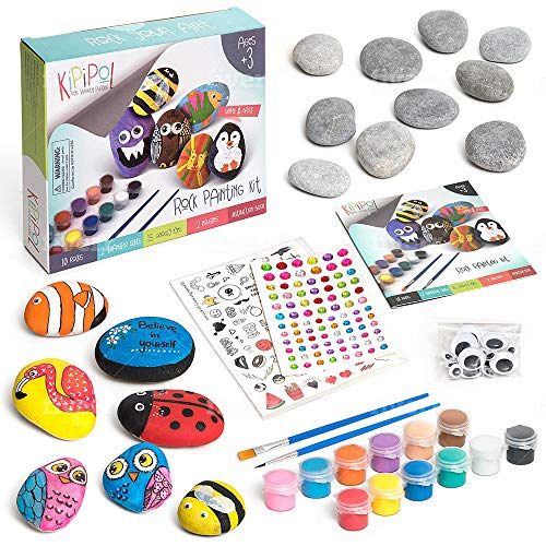 KipiPol Rock Painting Kit for Kids - DIY Arts and Crafts Set for Girls, Boys Ages 3, 4, 5 and Up - Fun Outdoor Activities w/10 Stones, 12 Acrylic Paints, 2 Brushes, 15 Googly Eyes, 2 Transfer Sheets